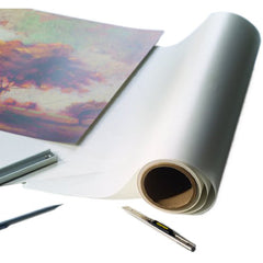 Drytac Dry Mount Film Acrylic adhesive on a thin PVC carrier. Activation temperature 185-210°F/85-99°C