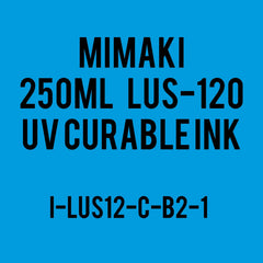 Mimaki LUS-120 UV curable ink 250cc bottle Cyan. (MPN: LUS12-C-B2)