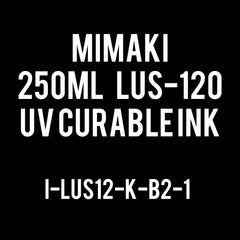Mimaki LUS-120 UV curable ink 250cc bottle Black (MPN: LUS12-K-B2)
