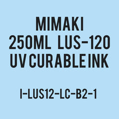 Mimaki LUS-120 UV curable ink 250cc bottle Light Cyan. (MPN: LUS12-LC-B2)