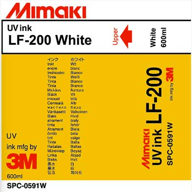 Mimaki LF-200 UV-White 600ml Ink Cartridge (MPN: SPC-0591W)