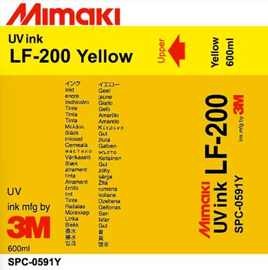 Mimaki LF-200 UV -Yellow 600ml Ink Cartridge (MPN: SPC-0591Y)