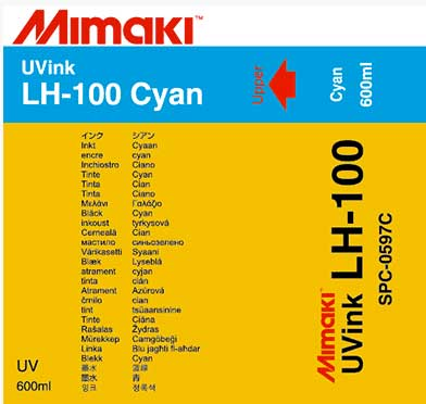 Mimaki LH-100 UV ink 600ml ink Pack Cyan (MPN: SPC-0597C)