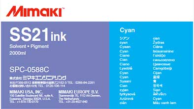 Mimaki SS21 Solvent Ink 2 liter Ink Pack  CYAN (MPN: SPC-0588C)