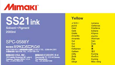 Mimaki SS21 Solvent Ink 2 liter Ink Pack  Yellow (MPN: SPC-0588Y)