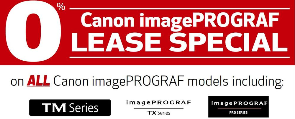 0% financing on Canon imagePROGRAF printers
