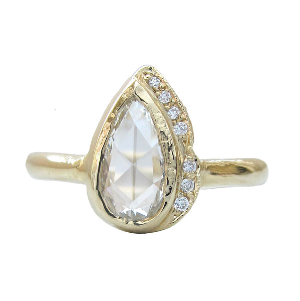 Rosecut Diamond Raindrop Ring