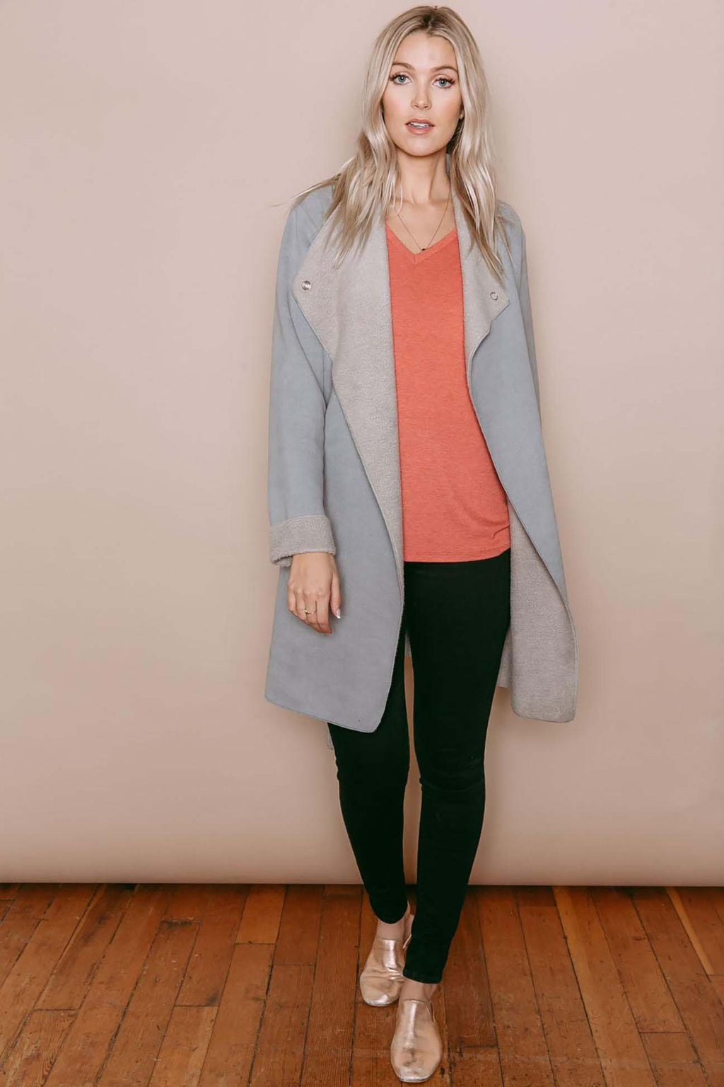 Sophia - Reversible Sherpa Wrap Jacket Silver Grey