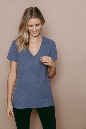 Josephine - Winter Weight Easy Fit V-Neck Vintage Blue
