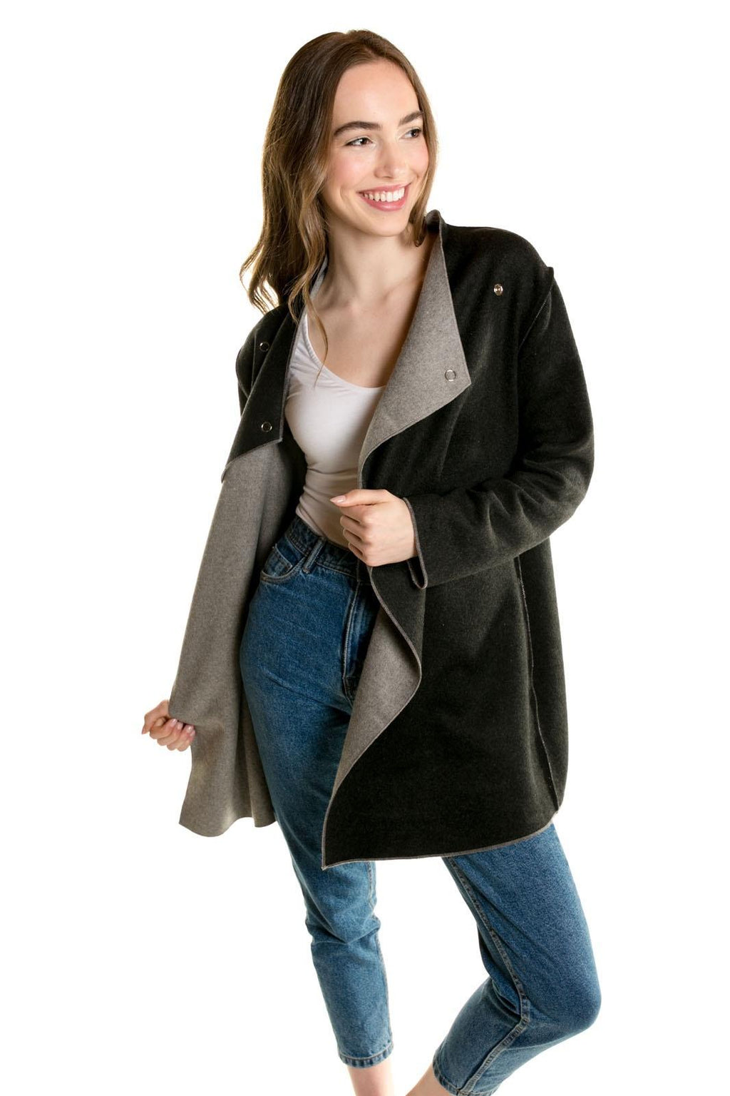 Sophia - Reversible Wrap Jacket Charcoal/Light Grey