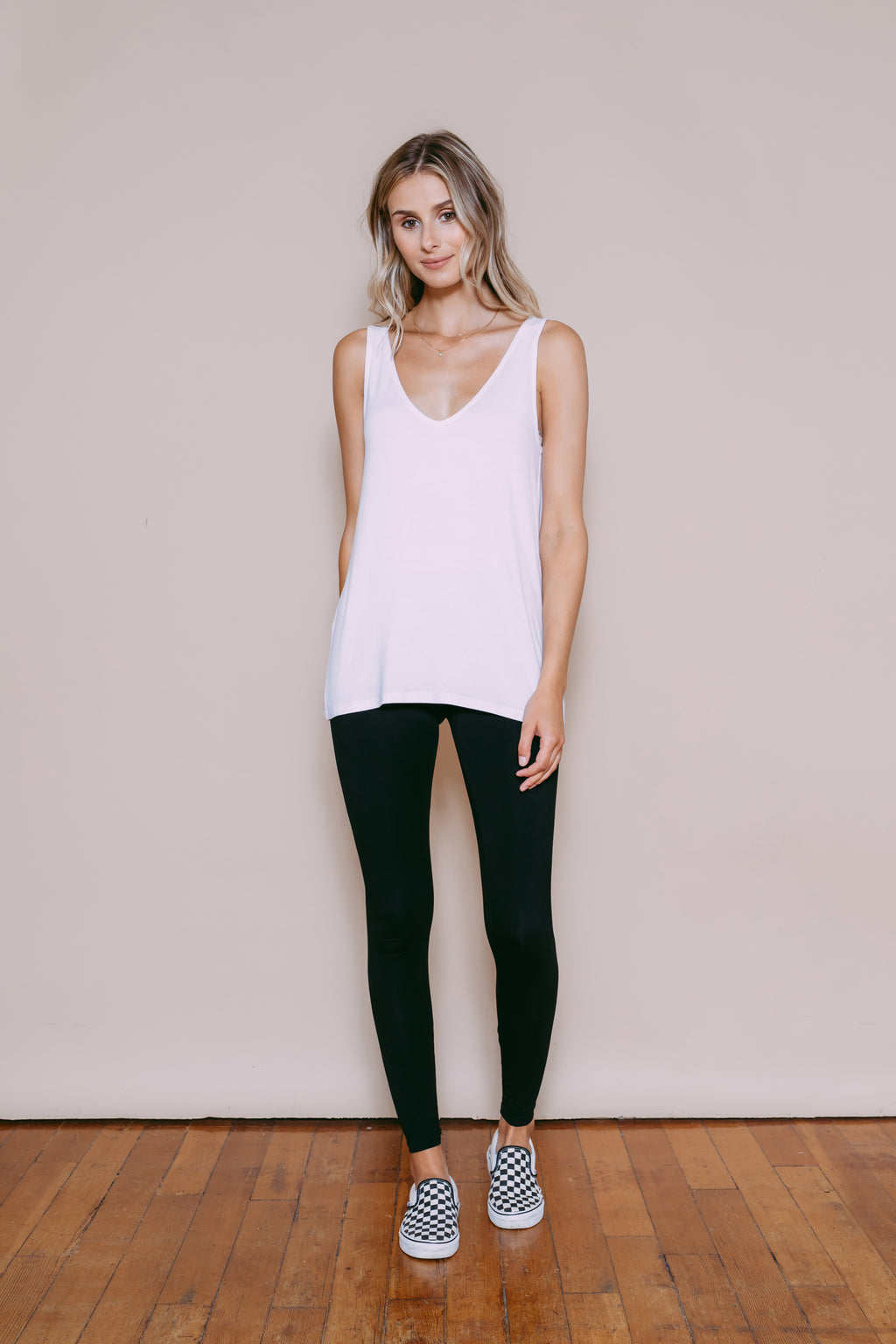 Claire - Reversible Easy Fit Tank White