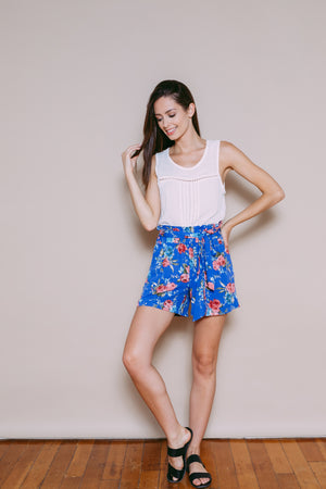 Alice - Flirty Shorts Blue Floral