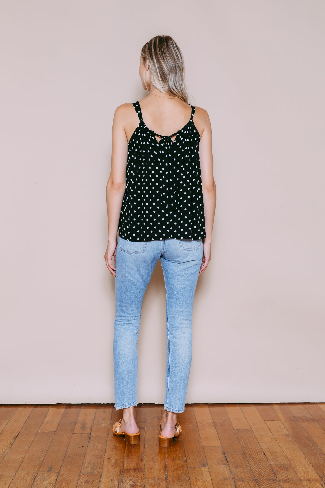 Luna - Reversible Keyhole Draped Cami Black Dots