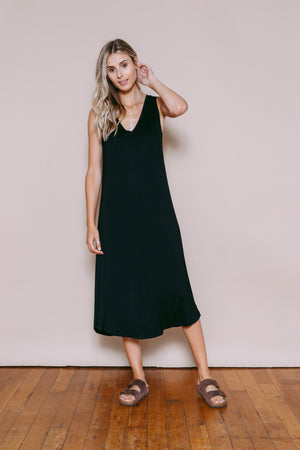 Bella - Reversible Midi Length Tank Dress Black