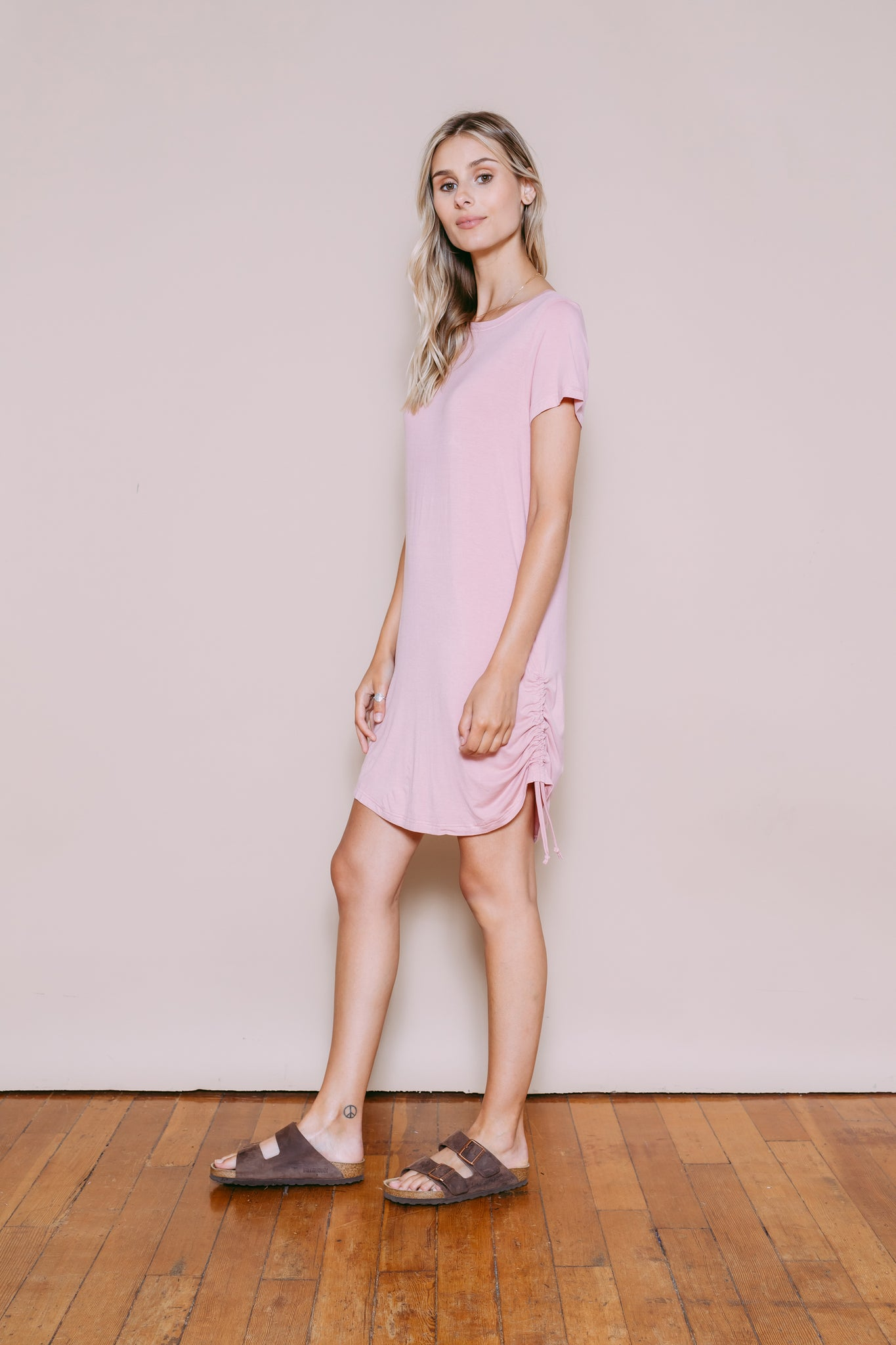 Janey - Convertible Tee Dress Dusty Pink