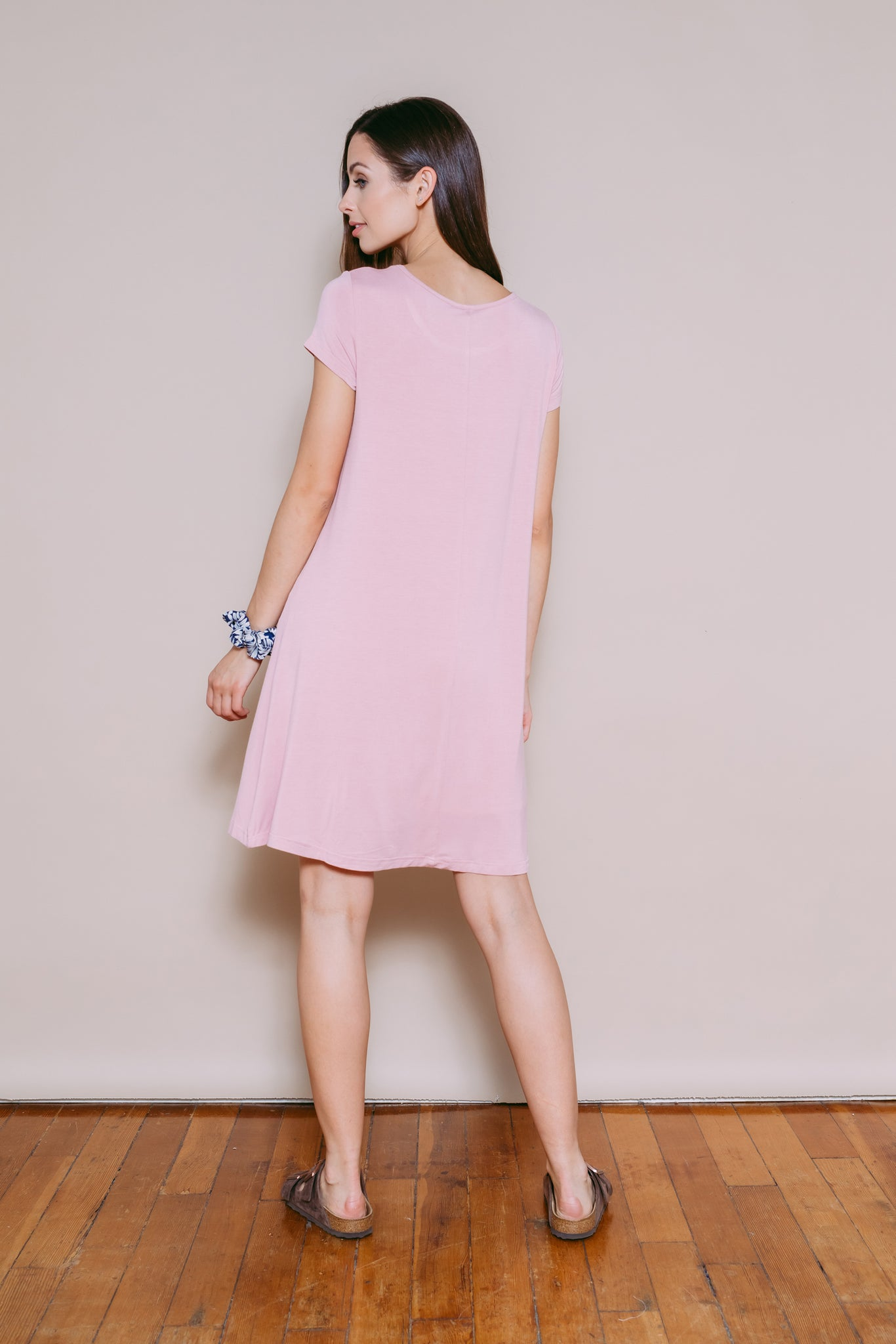 Jules - Tee Shirt Dress Dusty Pink