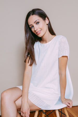 Shelly - Woven Tee Dress White Geo