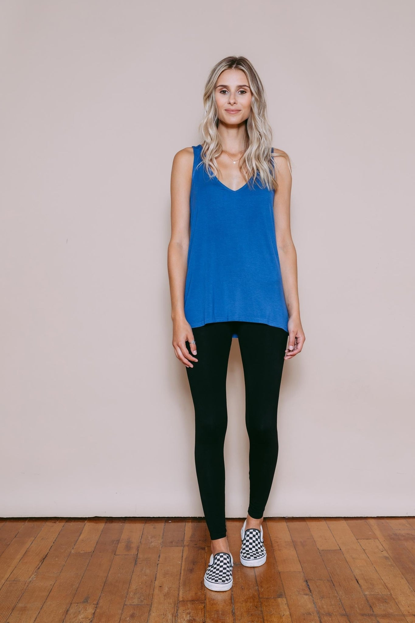 Claire - Reversible Easy Fit Tank Indigo