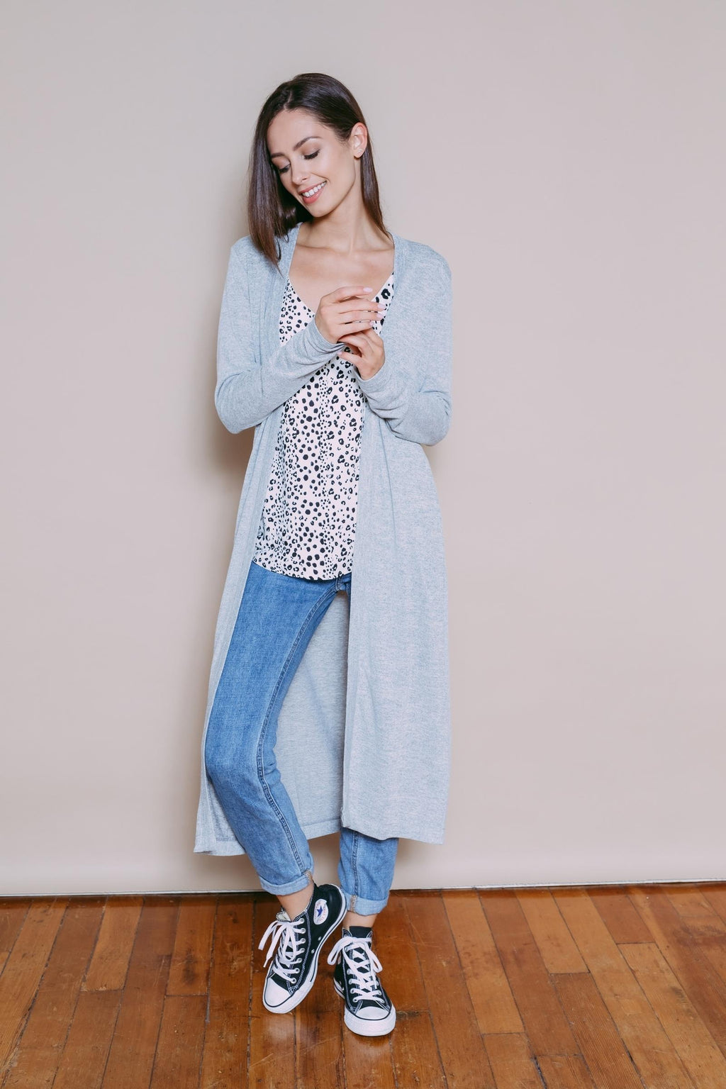 Layne - Luxe Jersey Maxi Cardigan Light Grey Mix
