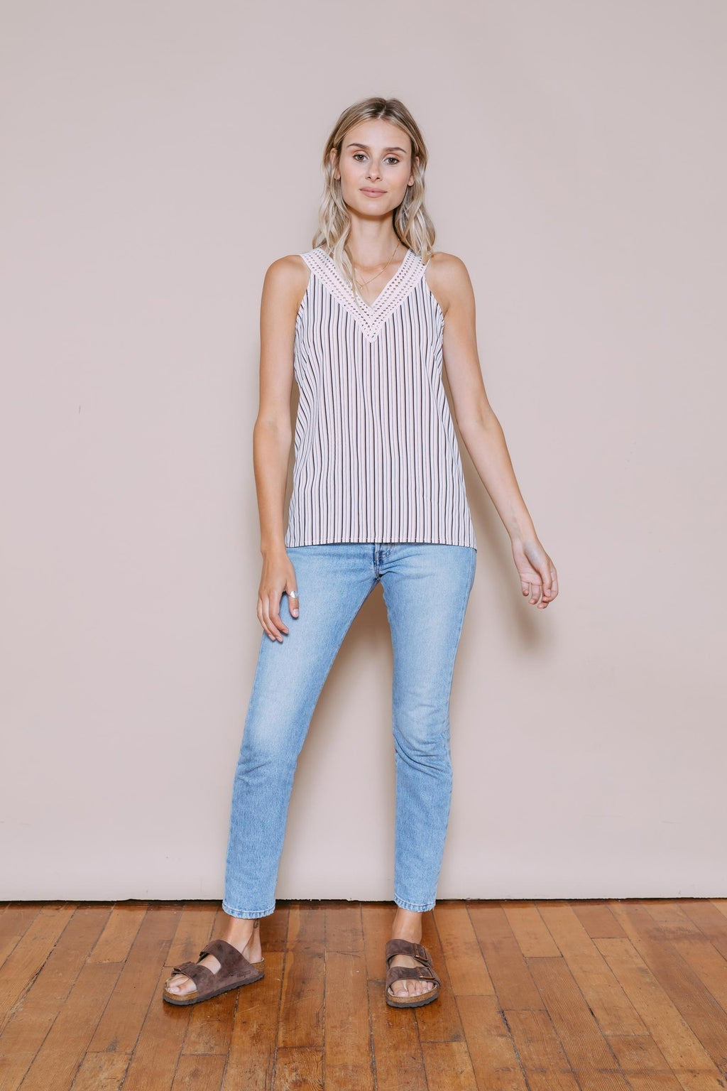Julia - Lace V-Neck Cami Neutral Stripe
