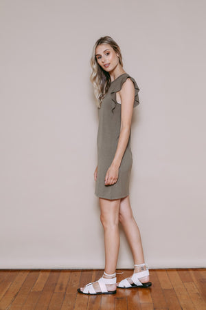 Lisa - Ruffle Sleeve Dress Light Olive