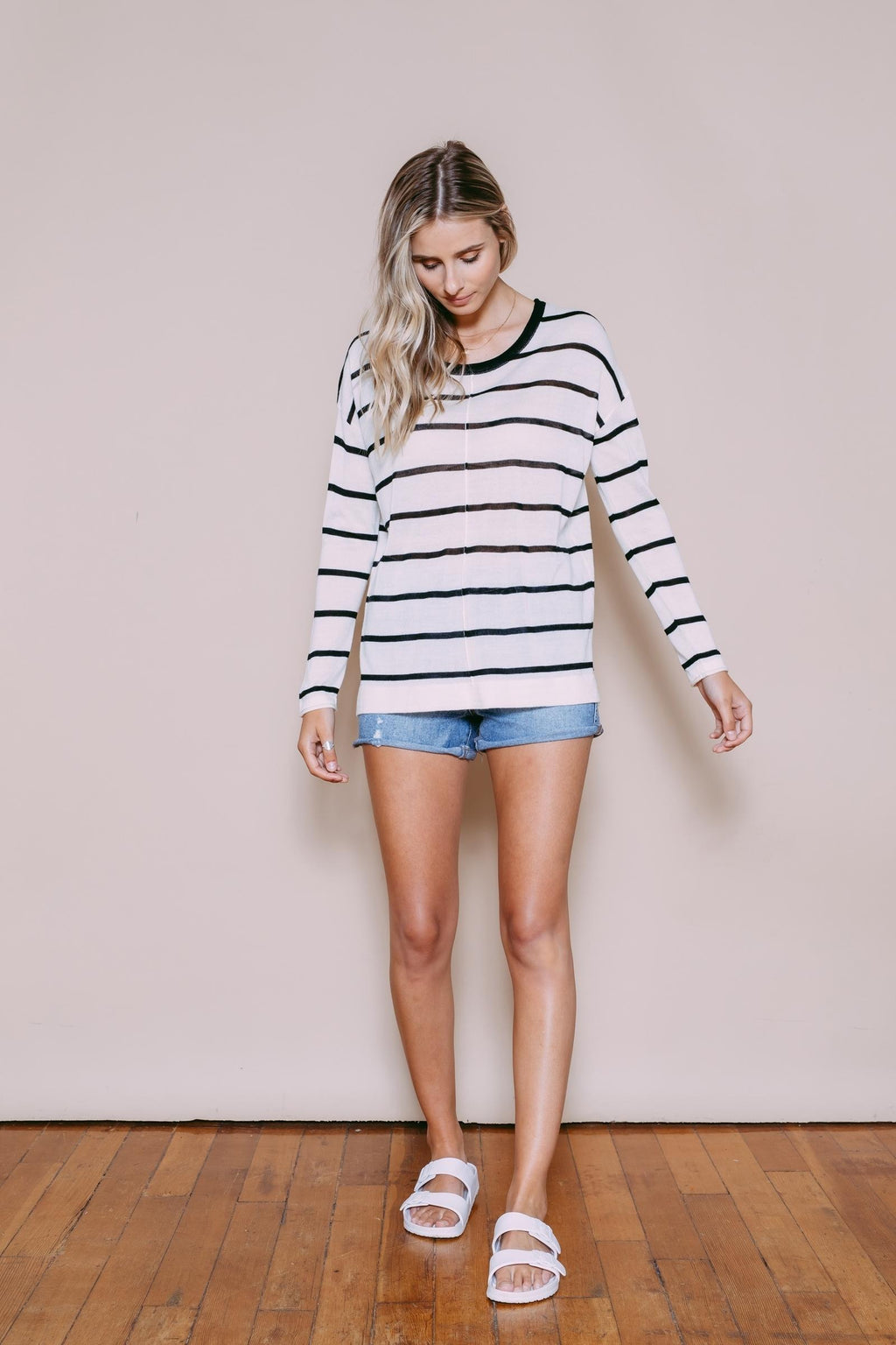 Paige - Pullover Lightweight Sweater Black/White Stripe