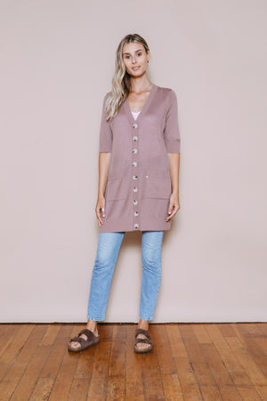 Kate - Lightweight Oversize Cardigan Dusty Mauve