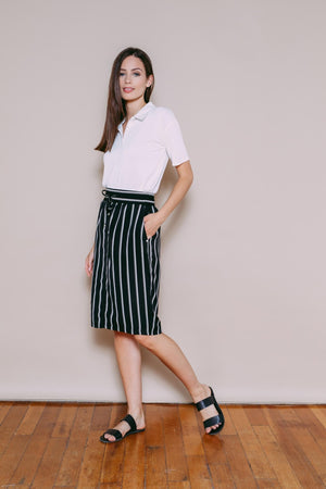 Charlize - Woven Skirt Black White Stripe