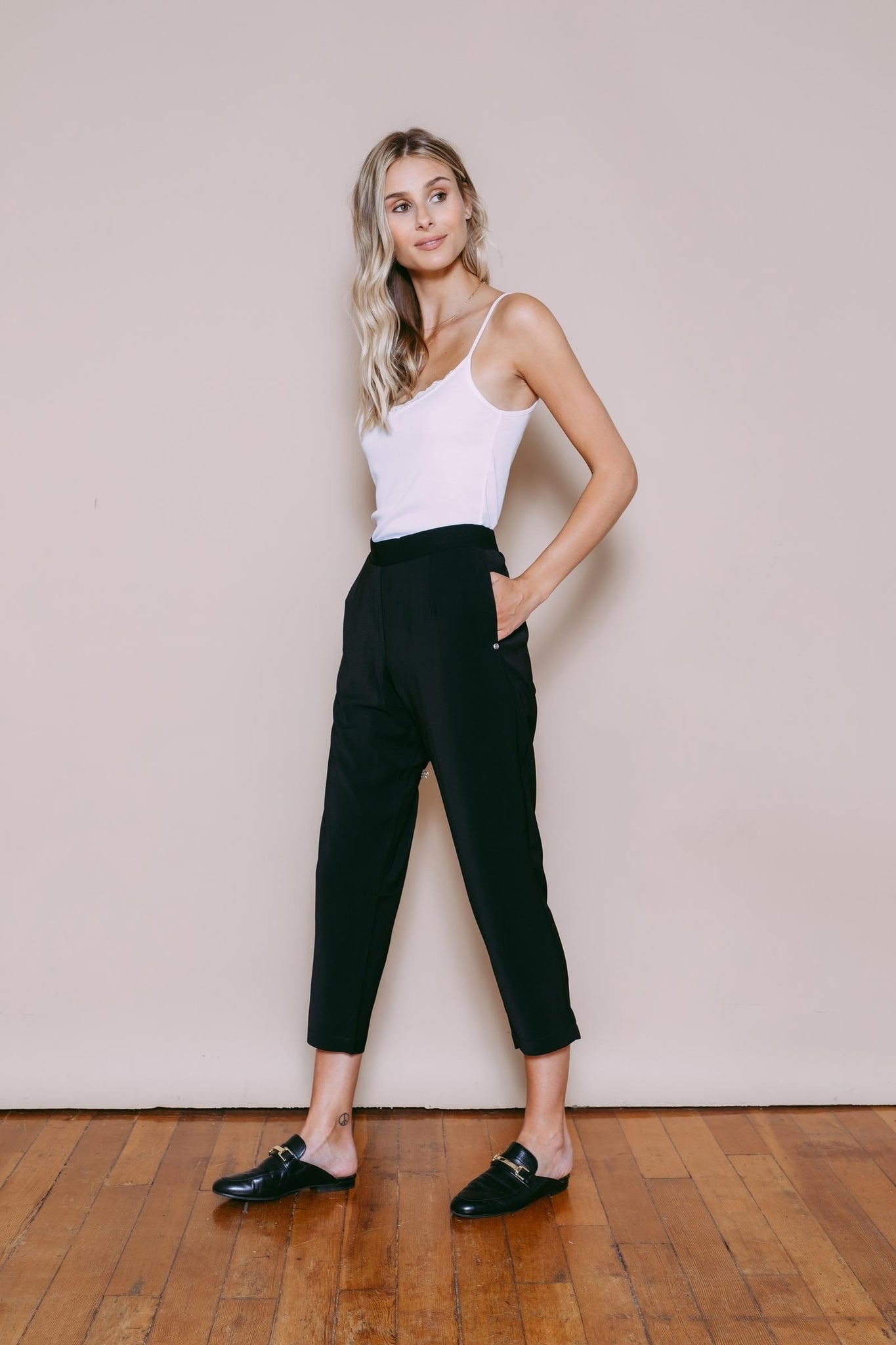 Sasha - Pull on Straight Leg Pant Black