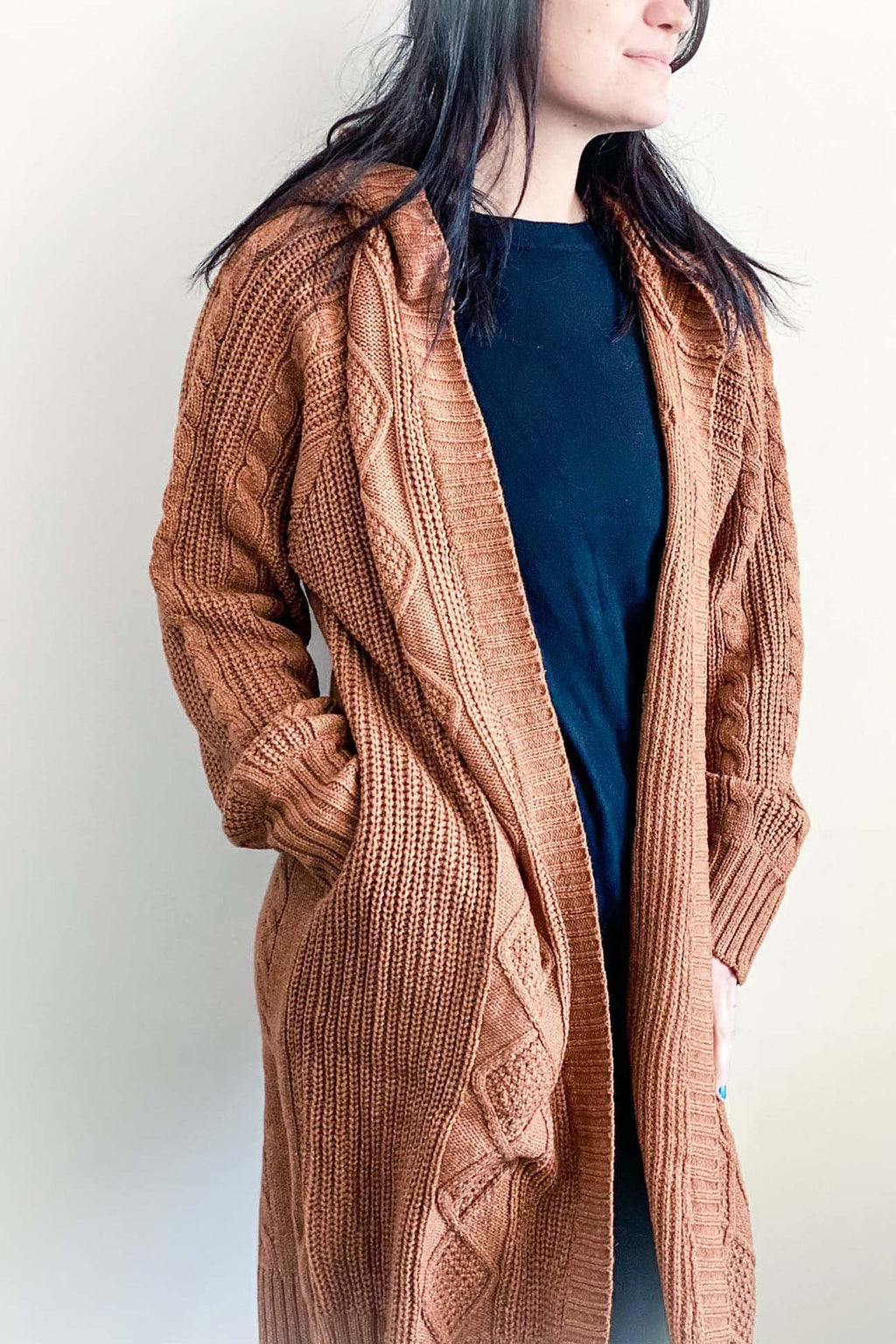 Faye - Hooded Cable Knit Cardigan Camel