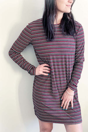Isla - Long Sleeve Tee Dress Burgundy Stripe