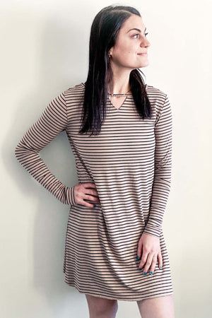 Janey - Reversible Long Sleeve Dress With Neck Detail Tan/Black Stripe