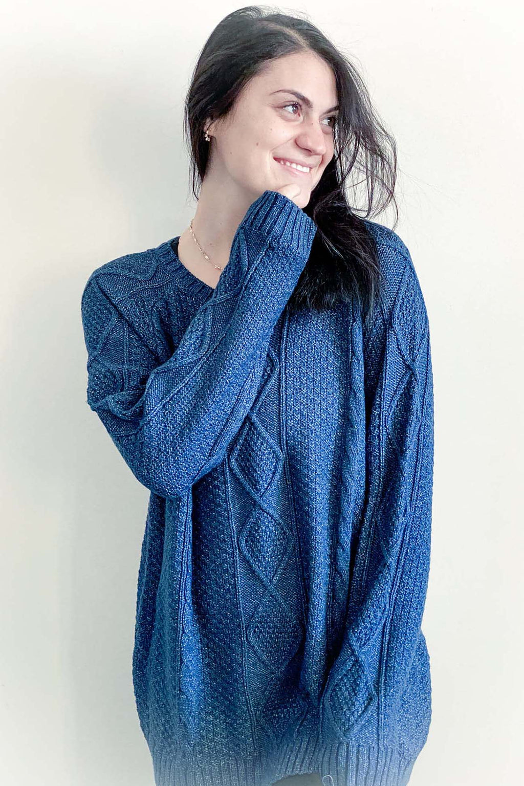 Arianna - Cable Knit Pullover Indigo
