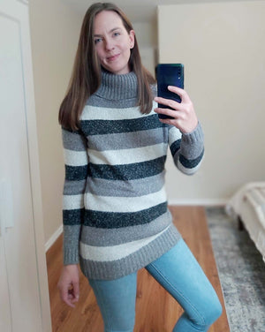 Lucy - Convertible 2-Way Sweater Neutral Stripe