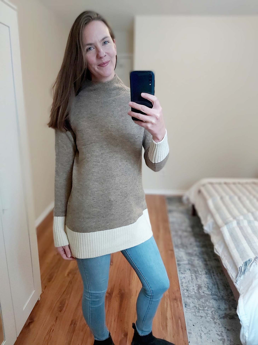 Athena - Funnel Neck Sweater Tunic Tan/Cream