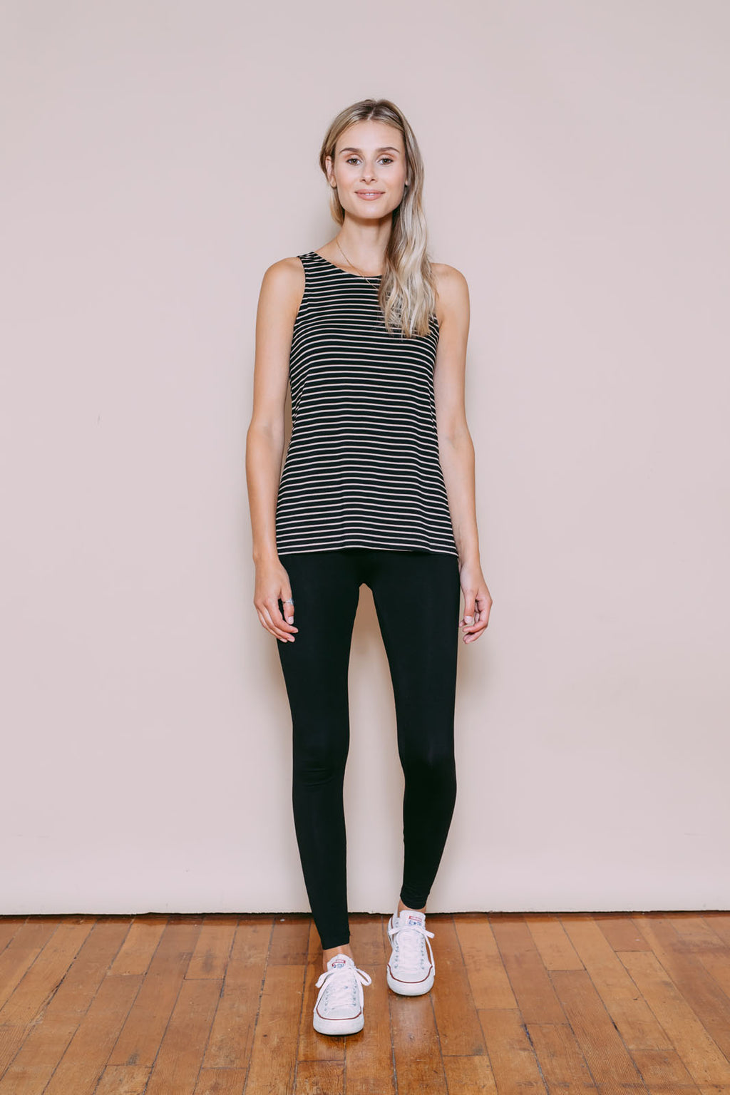 Cassi - Reversible Easy Fit Tank Tan/Black Stripe