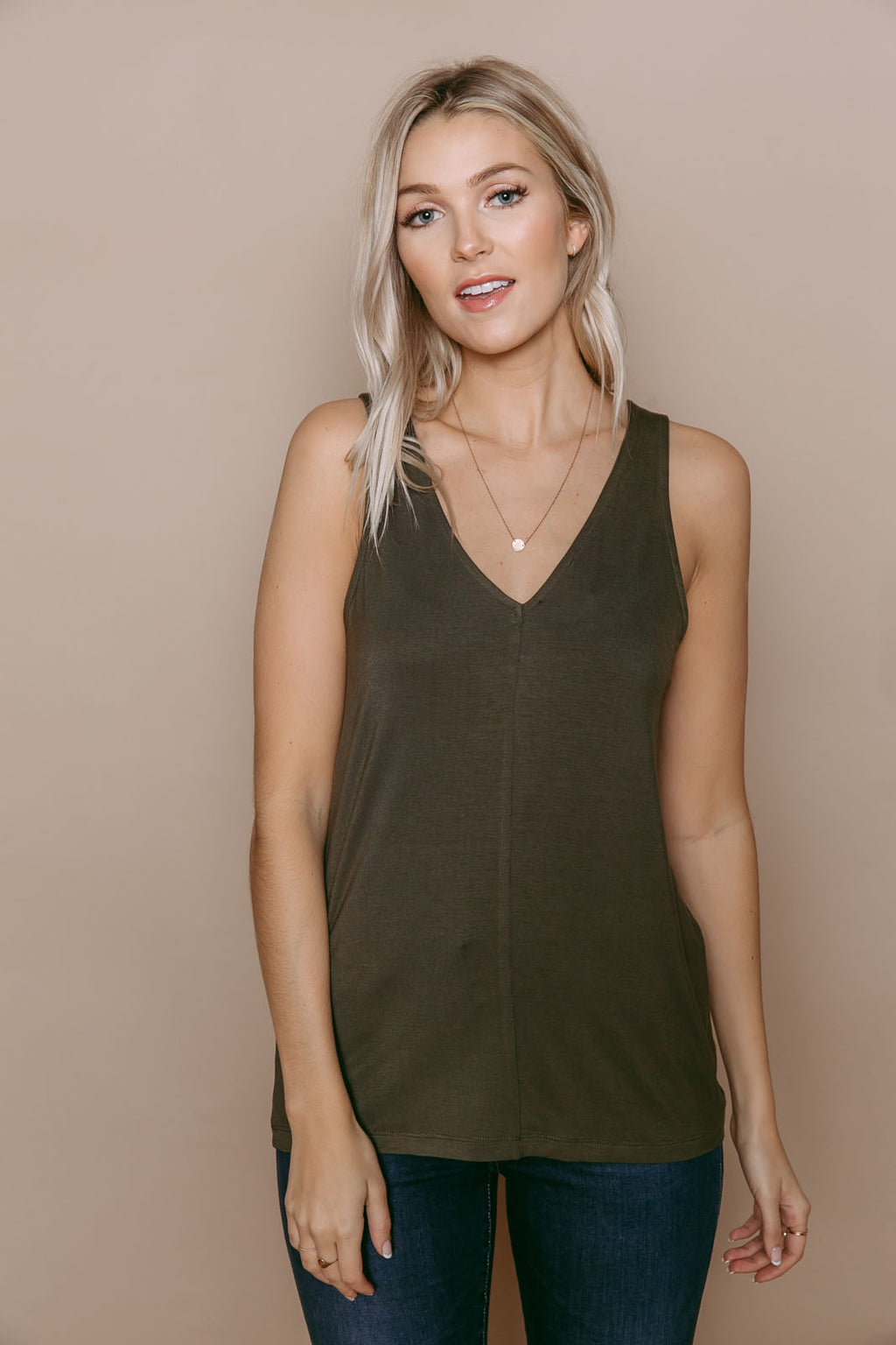 Cassi - Reversible Easy Fit Tank Olive