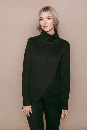 Stephie - Reversible Brushed Jersey Turtleneck Tunic Black