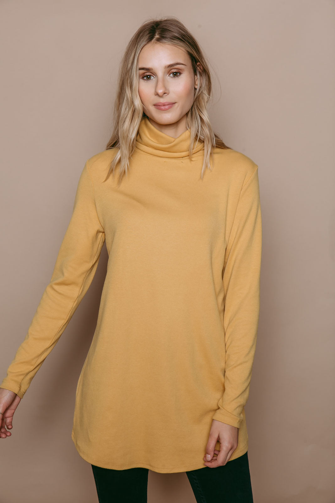 Stephie - Reversible Brushed Jersey Turtleneck Tunic Ochre