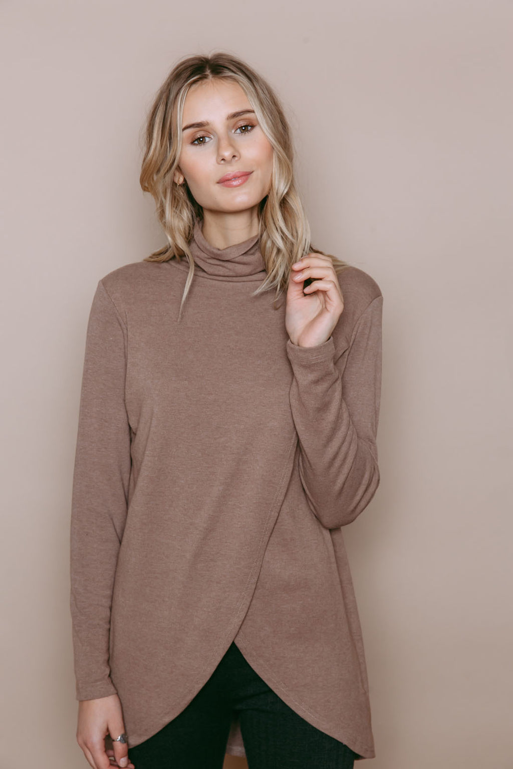 Stephie - Reversible Brushed Jersey Turtleneck Tunic Tan
