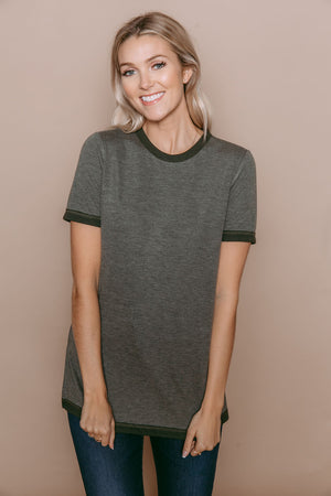 Grace - Reversible Tee Olive Heather