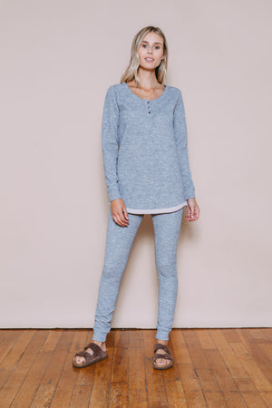 Addie - Thermal Knit Henley Coal