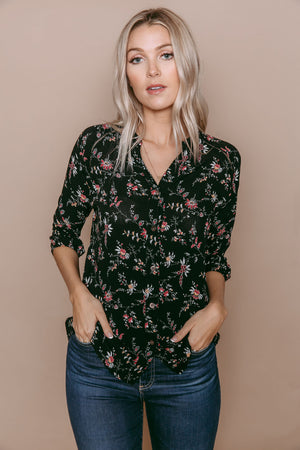 Cadence - Lace Trim Blouse Black Floral