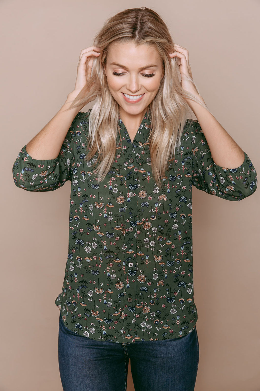 Cadence - Lace Trim Blouse Green Mini Floral