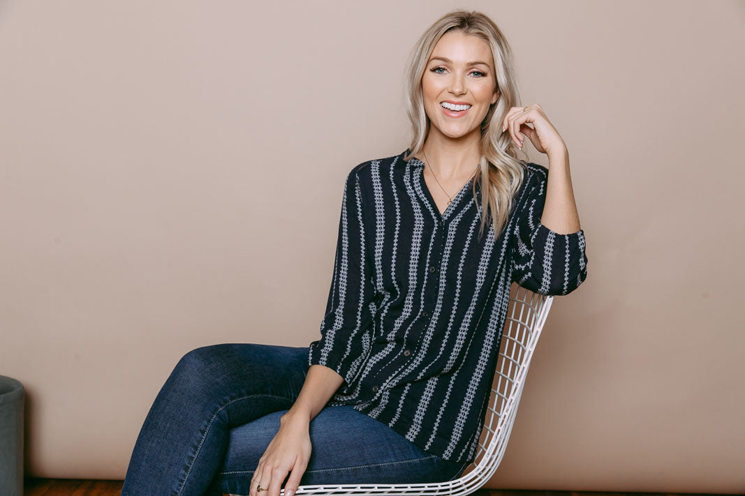 Cadence - Lace Trim Blouse Navy Geo