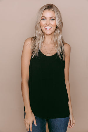 Maddie - Zip Back Cami Black
