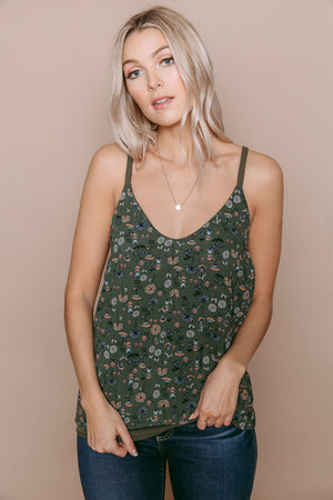 Paulina - Reversible Strappy Back Cami Green Mini Floral