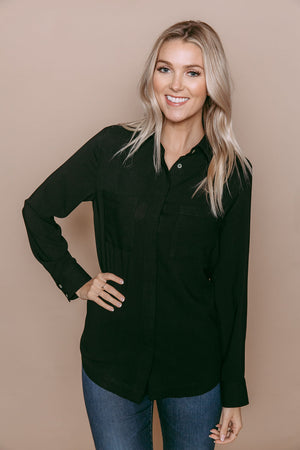 Ashlen - Classic Button-up Blouse Black