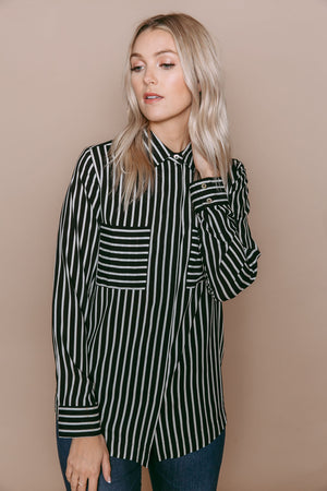 Ashlen - Classic Button-up Blouse Black & White Stripe