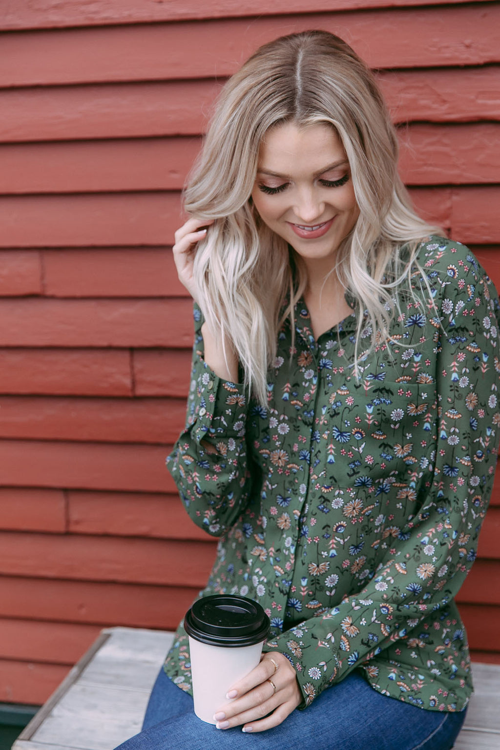 Ashlen - Classic Button-up Blouse Green Mini Floral